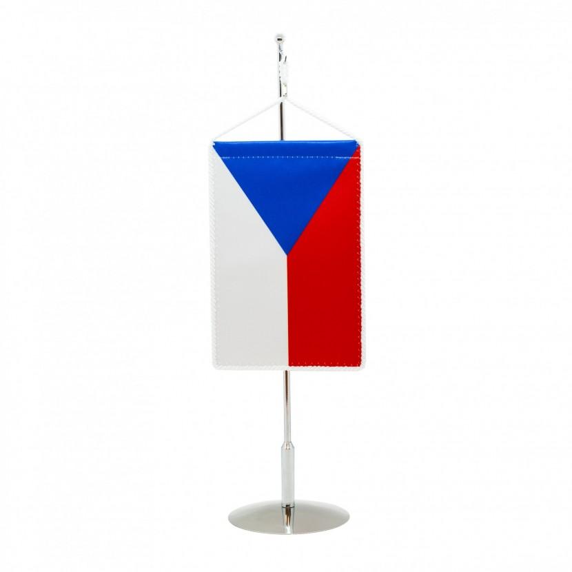 Stojánek na stolní vlaječku kovový chromovaný LUX: 35 cm - na zavěšení