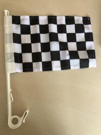Šachovnicová vlajka s držákem na auto