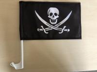 Pirátská vlajka s držákem na auto